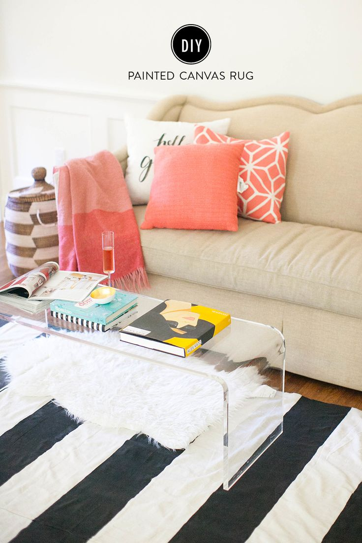 DIY painted rug: http://www.stylemepretty.com/living/2015/09/11/diy-painted-canvas-rug/