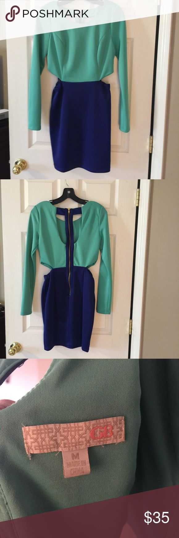 Gianni Bini dress!! So pretty! Fitted dress with cut out sides partially open back, two colors at once, 5 inches above knee or so.. Cute classy party, dress worn once. Gianni Bini Dresses Midi