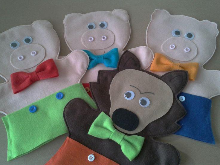 kit fantoches adulto três porquinhos