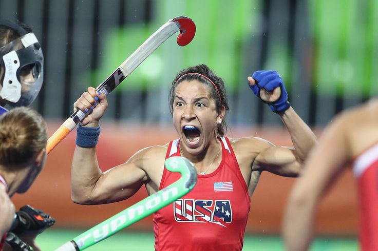 Melissa Gonzalez of the United States celebrates scoring a goal during the women's pool B match between the United States and Japan on Day 5 of the Rio 2016 Olympic Games at the Olympic Hockey Centre on August 10, 2016 in Rio de Janeiro, Brazil.