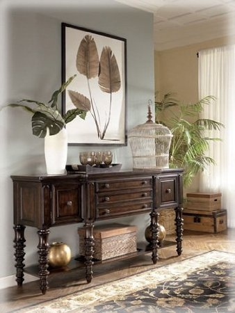 British Colonial Key Town Server in Brown: Furniture & Decor