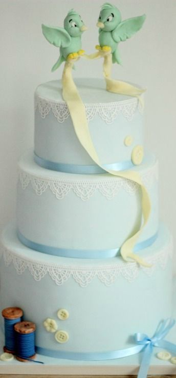 Modern Cinderella Bluebird Wedding Cake