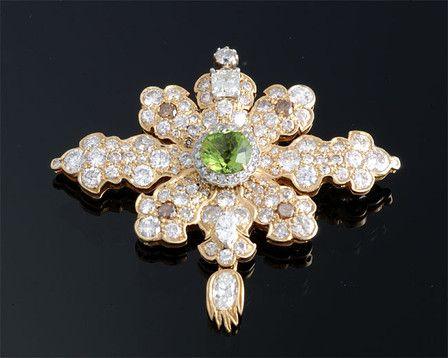 Peridot and Diamond Pendant / Pin ~ M.S. Rau Antiques