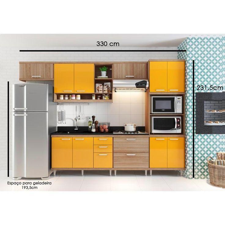 Cozinha Compacta Aéreos Armário p/ Forno/Microondas e Balcões de Pia/Cooktop Argila/Laca Amarelo - Multimóveis com o melhor preço é no Walmart!