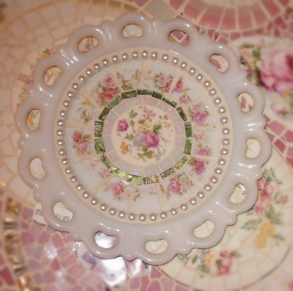 French Chic Cottage Romantic Mosaic Pink by mudpudlesndandylines, $35.00