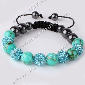 Shamballa Bracelet, 10mm round turq clay rhinestone & turquoise beads, adjustable        Item No.:SN014733      Shop price: US$5.09 - US$5.99