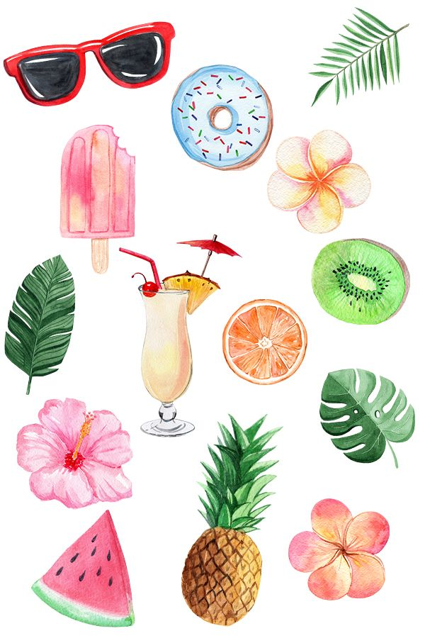 Summer Fruits And Flowers Watercolor Clipart Hawaiian Sublimation Png Pineapple In Sunglasses Tropical Beach Instant Download In 2021 Summer Sticker Clip Art Summer Fruit