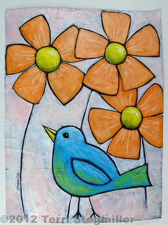 Blue Bird Garden Acrylic Painting on Paper by TerriStegmillerArt, $55.00