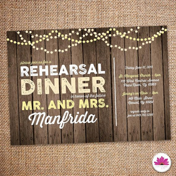 Rustic Rehearsal Dinner Invitation. Rustic Barn Invite.