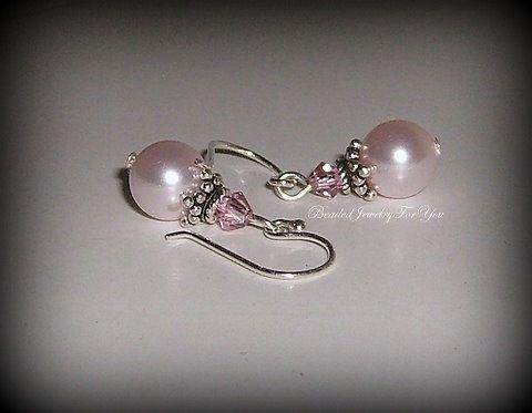 @8 mm Rosalind Swarovski crystal pearls, light rose Swarovski crystal bicones.  Pink Pearl Earrings