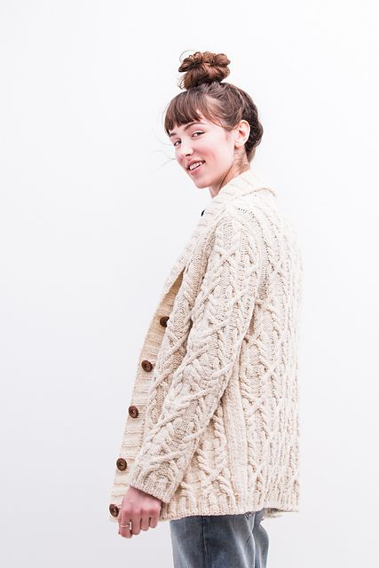 Snoqualmie by Michele Wang. Shawl-collared cabled cardigan. Cozy sweater w/ some new techniques to learn