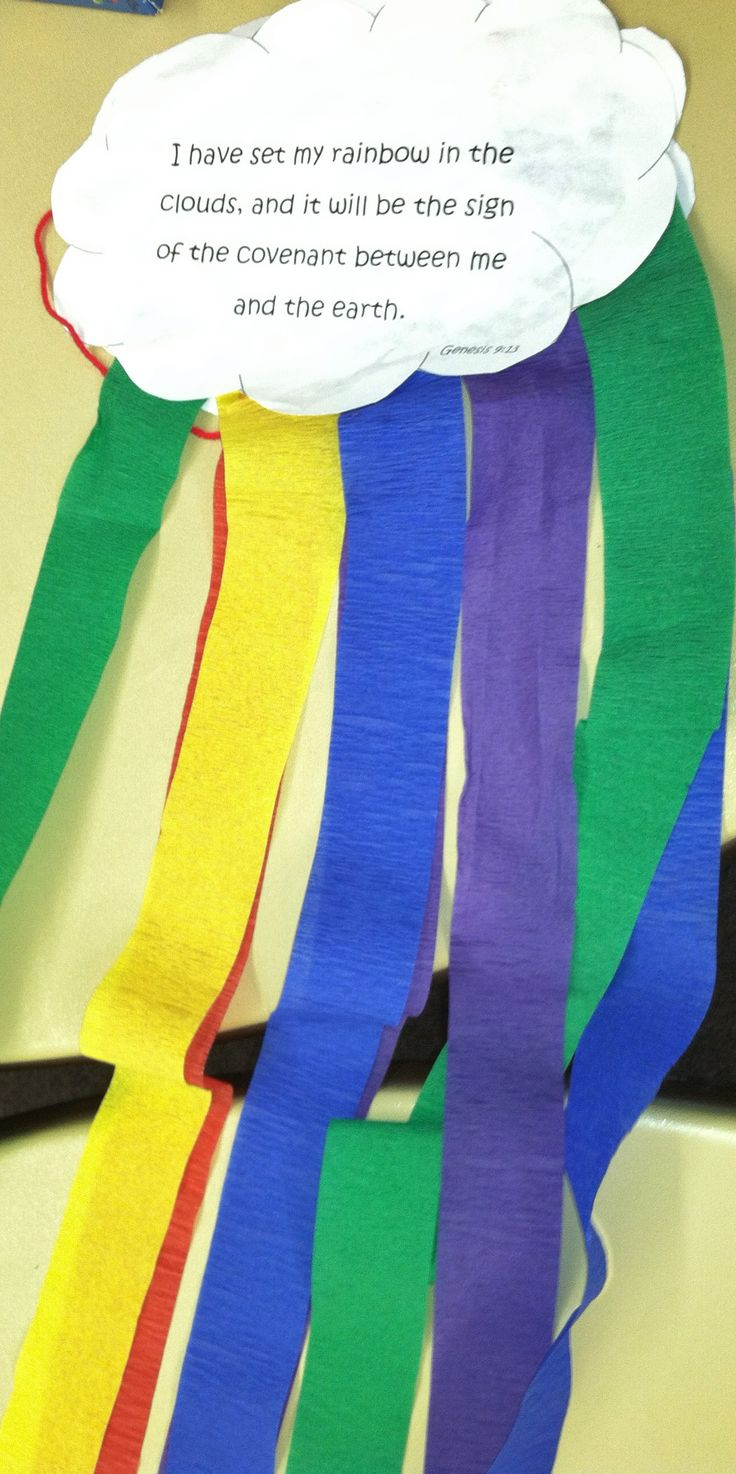 To go along with our Noah's Ark lesson we made these clouds with rainbow streamers.