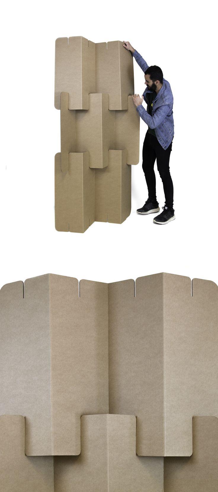 Biombo plegable zigzag furniture cardboard muebles de - Biombo de carton ...
