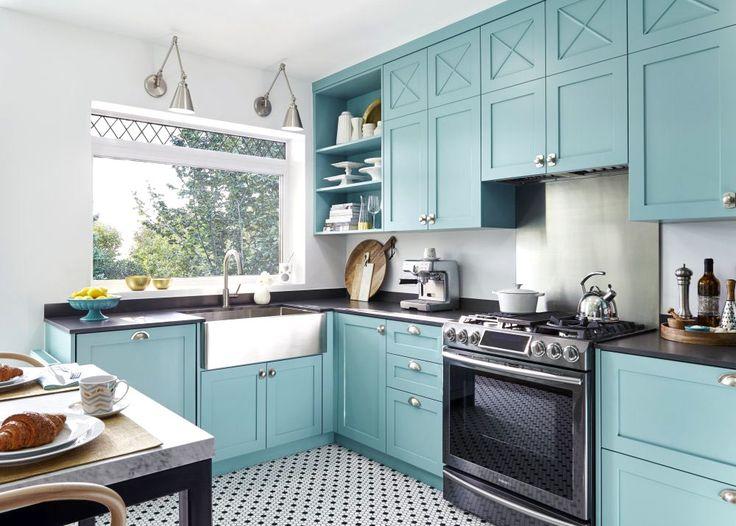 Дизайн бирюзовой кухни