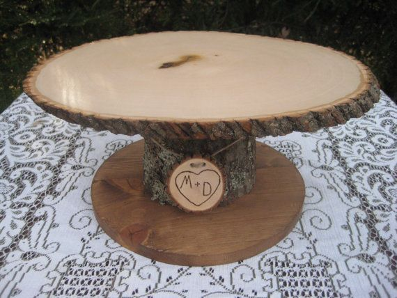 Wood Cupcake Stand, Personalized Cake Stand, Log Cake Stand, Tree ...