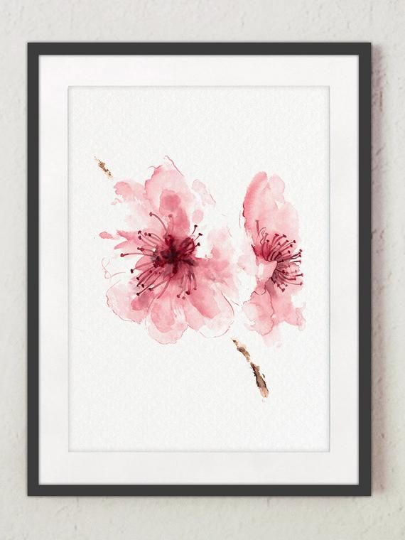 Cherry blossom Flowers Set of 4 Watercolor Prints Pink Home Decor nurdan tunali