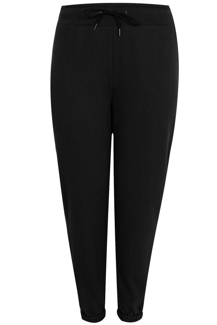 Black Roll Cuff Joggers Plus size 16,18,20,22,24,26,28,30,32,34,36