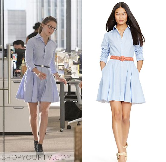 Kara Danvers (Melissa Benoist) wears this blue button down flared long sleeved shirt dress in this episode of Supergirl.