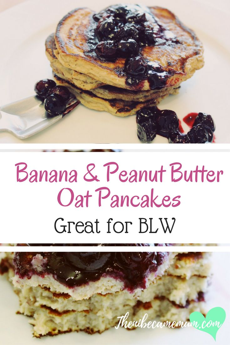 Try our banana and peanut butter oat pancake recipe. Suitable for Baby Led Weaning. Healthy breakfast recipe, blw, pancake recipe, snack ideas, breakfast ideas