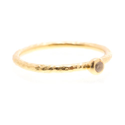 Lily - 14kt gold stacking ring with smokey topaz stone. $50