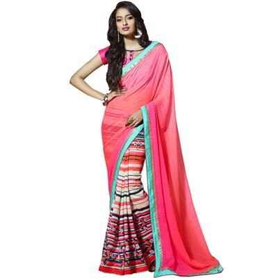 Buy Party Wear Pink Classic Printed Saree-602 by undefined, on Paytm, Price…