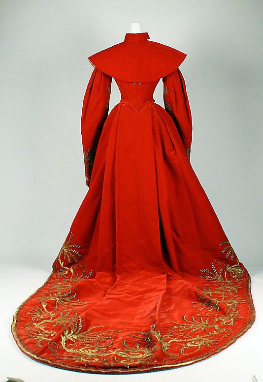 Red & Ivory Silk Court Dress, Russian, c. 1900. (Back View with Capelet)