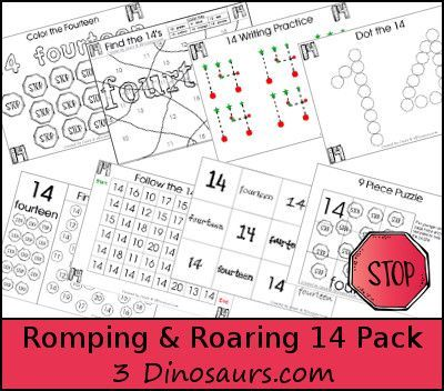 Free Romping & Roaring Number 14 - coloring pages, playdough mats, counting, tracing and more 39 pages great for ages 3 to 6 or 7 - It has a transportation signs theme - 3Dinosaurs.com