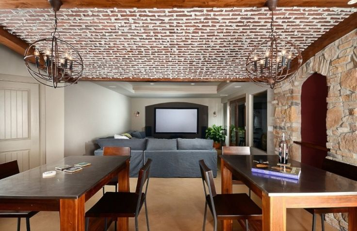Architecture:Amazing Basement Finishing Ideas Low Ceiling With Basement Lighting And Chandeliers Feat Gray Sofas Home Theater Room With White Screen And Recessed Light Wall Sconcegrey Plus Coffee Table Sets And Wooden Floor The Coolest Basement Finishing Ideas for Your On – going Remodeling Basement