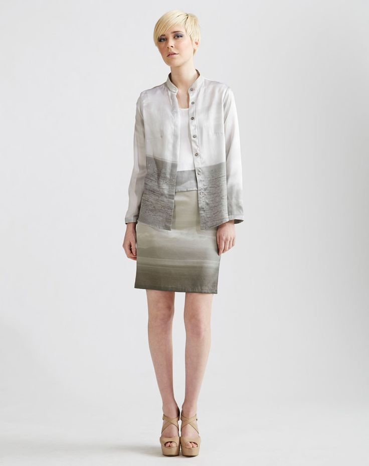 Long Sleeve Printed Silk Blouse, Stretch Silk Pencil Skirt available online at www.jenkinsandjane.com.au
