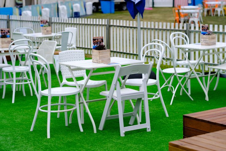 Eclectic mix of white chairs for Night Noodle Markets by Moreton Hire Australia