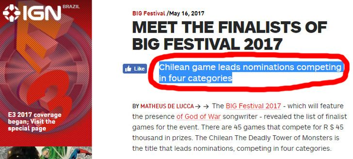 The Deadly Tower of Monsters leads nominations in Brasil's BIG Festival 2017 #TheDeadlyTowerOfMonsters #ACETeam #VideoGames #VideoGame #Gaming #GameDev #IndieDev #IndieGames #IndieGame #PCGames #PCGame #Steam #PlayStation4 #PS4 #ActionGames #Atlus #AtlusUSA #AtlusGames #SciFi #ScienceFiction #BMovie #GOTY #GameAwards #BIGFestival #BIGFestival2017