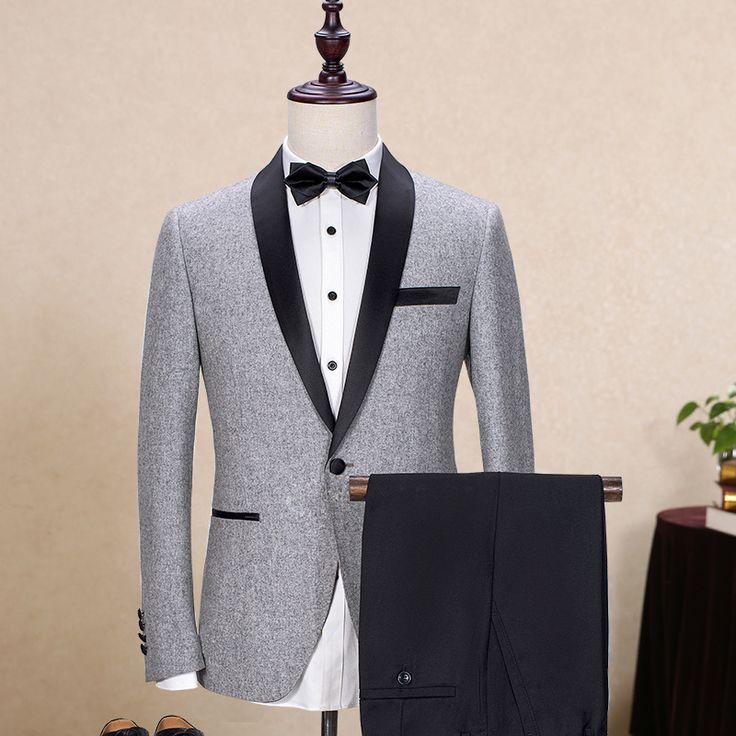 Gray 2 Pcs Suit Men 2017 Shawl Lapel Gentleman Wedding Dress Suits for Men Tuxedo Leisure Costume Homme Brand Clothing