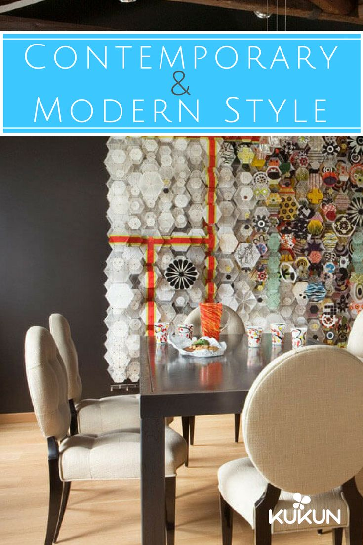 Ever wondered what differences exist between contemporary and modern design? Read our article and find out more about these two styles! [Eclectic Decor, Contemporary Design, Eclectic Dining Room Ideas, Contemporary And Modern Design, Interior Design Guide,  Wooden Dining Table, Wooden, Black Wall Paint Ideas, Hardwood Floors]