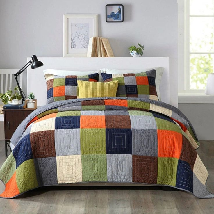 Hand made patchwork quilt set 3pcs king size quilt and