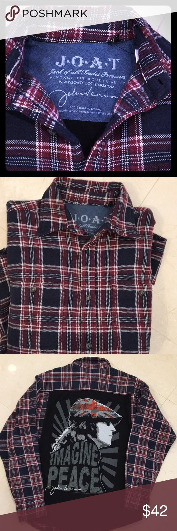Jack of all Trades Premium flannel shirt Jack of all Trades Premium vintage fit rocker shirt, John Lennon men's flannel shirt, red/navy plaid, new with tag, purchased at Neiman Marcus Jack of all Trades Tops