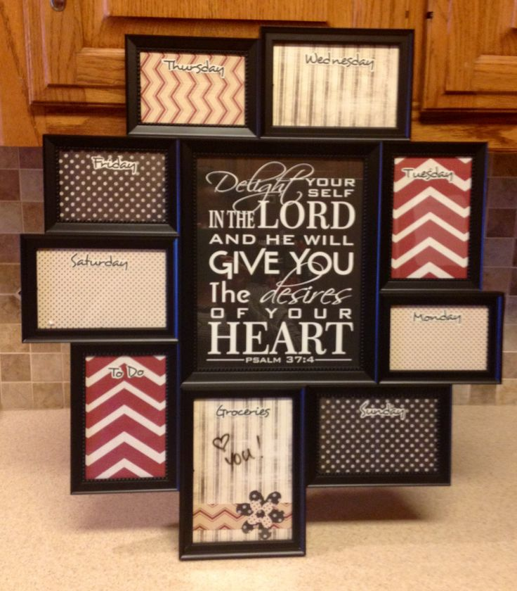 diy weekly planner using 6 collage frame from walmart inserted scrapbook paper pieces for backgrounds