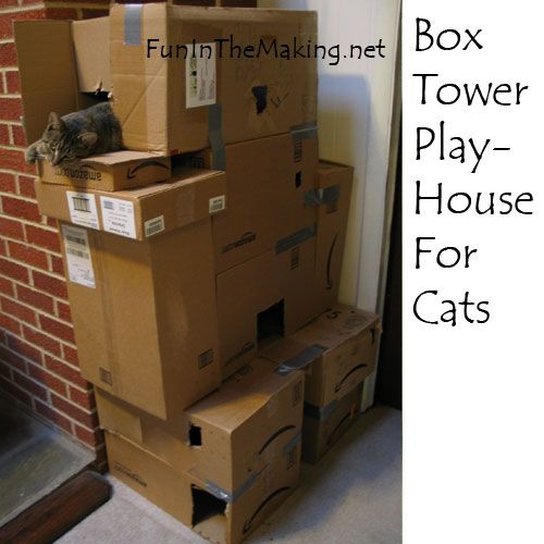 Cardboard Box Play Tower For Cats