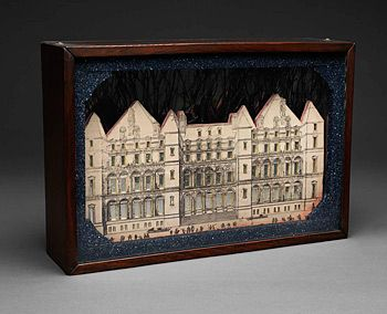 Joseph Cornell - double sided, glass enclosed, paper models of listings or neighborhoods