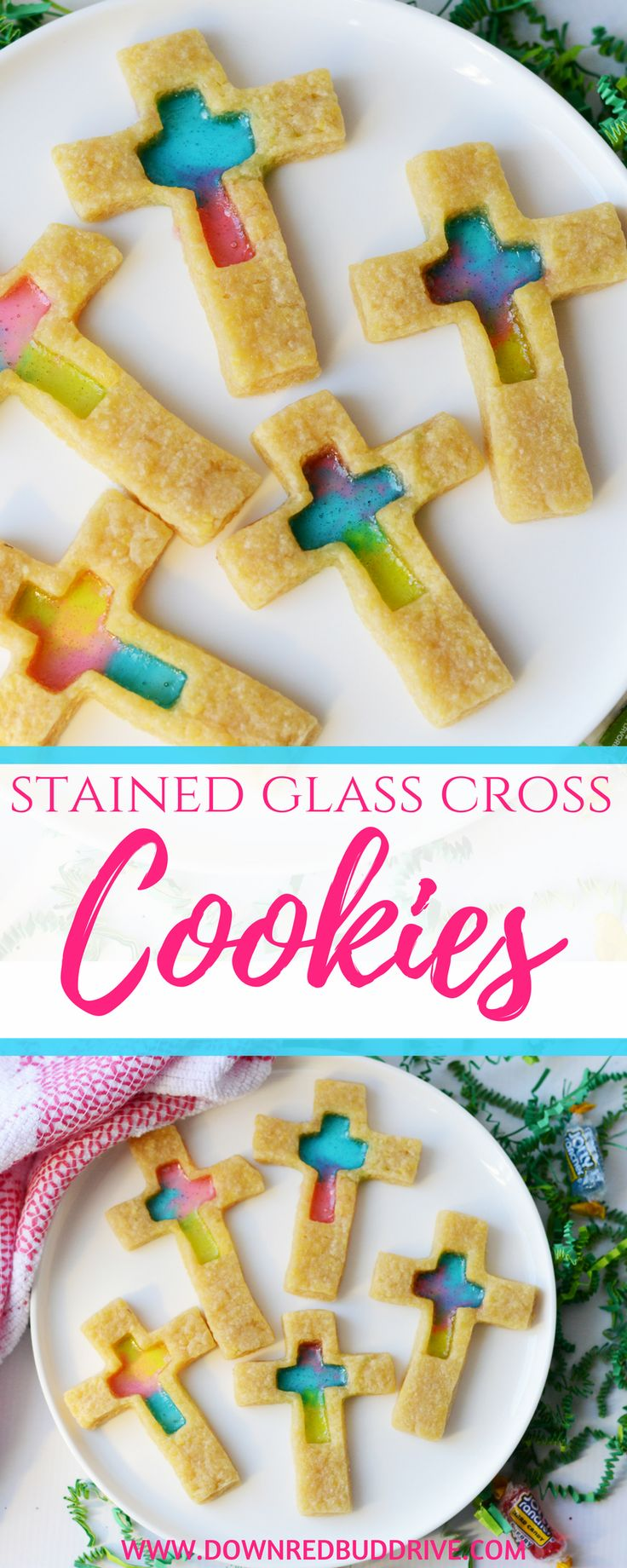 Stained Glass Cross Cookies   Stained Glass Cookies   Cross Cookies   Easter Cookies   Christian Cookies   Resurrection Sunday   Resurrection Sunday Cookies   Easter Dessert   Easter Food   Down Redbud Drive #crosscookies #stainedglasscookies #easterrecipe #baptism #resurrectionsunday