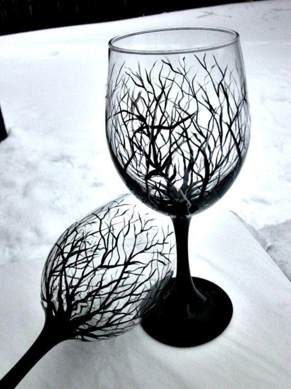 Wine Glasses,  Hand Painted Wine Glass Trees, Pair of Wine Glasses 18 oz