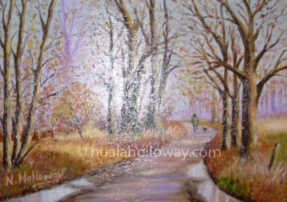 """""""Autumn Morning Walk"""" by Nuala Holloway - Oil on Canvas #IrishArt #VisualArt #OilPainting"""