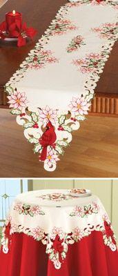 Christmas Cardinal Embroidered Table Linens