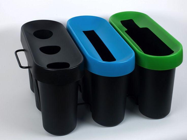 3 bacs de tri Selectibox Tertio: 1 collecteur de gobelets, 1 corbeille papier et 1 bac verre. A vous de mixer les couleurs. http://www.selectibox.com