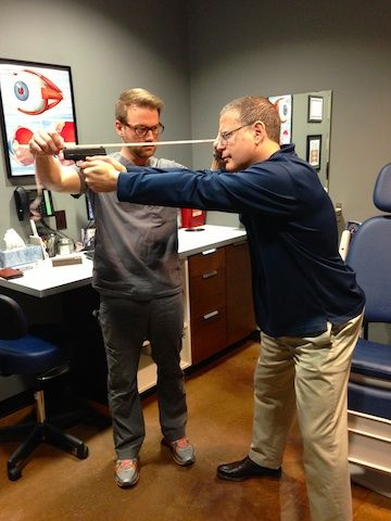 Casey Packer, O.D. of Lone Star Eye Center Austin, TX measures Robert Farago for new glasses (courtesy The Truth About Guns)