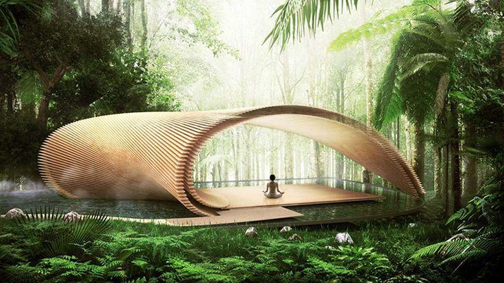 Kengo Kuma's Tsubomi Villas adapt to Bali's climate with organic geometry and wooden screen layers