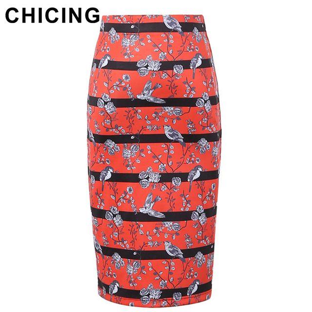 Chicing 2016 оригинальный дизайн юбки карандаш женщины ретро розы птицы полосатый принт высокая талия офис Bodycon миди юбка A1601001