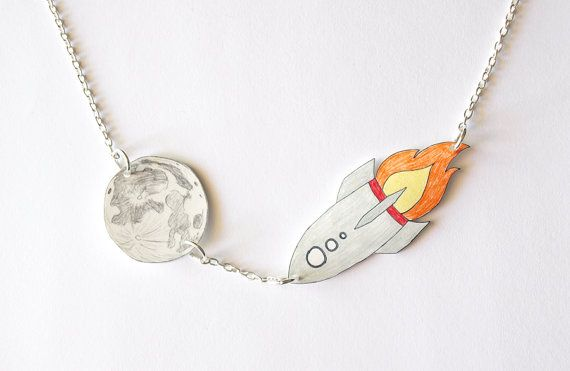 Rocket To The Moon Hand Drawn Necklace  Made To by rareindeed, $25.00
