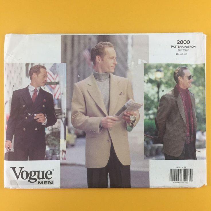 Uncut Vogue 2800 Mens Dress Jacket Blazer Sports Coat Size 38 40 42 Pattern #Vogue