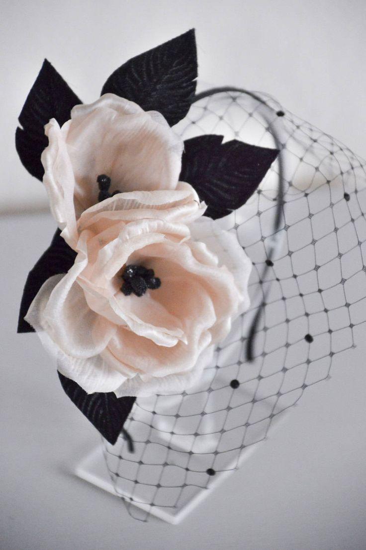 Blush Pink and Black Hair Flowers, black veil headband, birdcage veil