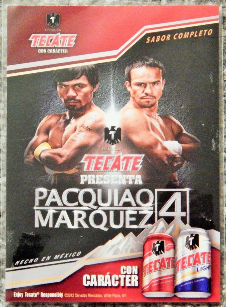 BOXING MANNY PACQUIAO VS MARQUEZ 4 COLLECTORS TRADING TECATE BEER PROMO CARD